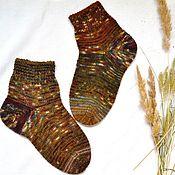 Аксессуары handmade. Livemaster - original item Striped Socks for Men Woolen Winter Warm Autumn Brown. Handmade.