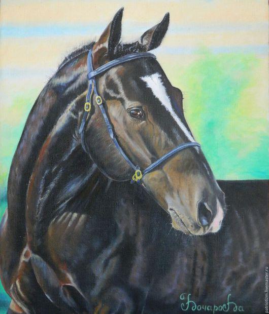 """Животные ручной работы. Ярмарка Мастеров - ручная работа. Купить Конь """"Орел"""" , масло,холст,подрамник. Handmade. Комбинированный, черный"""