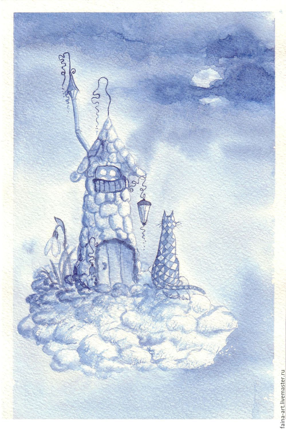 Cat Farisi visiting the Blue Clouds, watercolor, Pictures, Novosibirsk,  Фото №1
