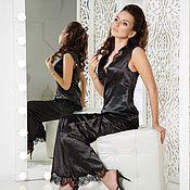 """Одежда ручной работы. Ярмарка Мастеров - ручная работа """"Аристократка""""  - черный пижамный комплект с кружевом шантильи. Handmade."""