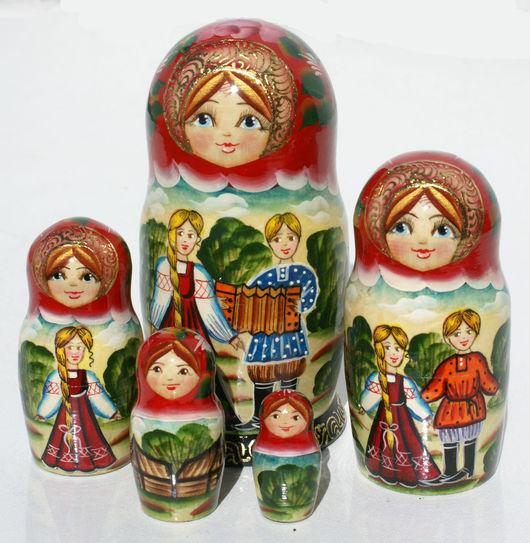 Матрешки ручной работы. Ярмарка Мастеров - ручная работа. Купить Весенняя пара, времена года, деревянная матрешка из 5 кукол. Handmade.
