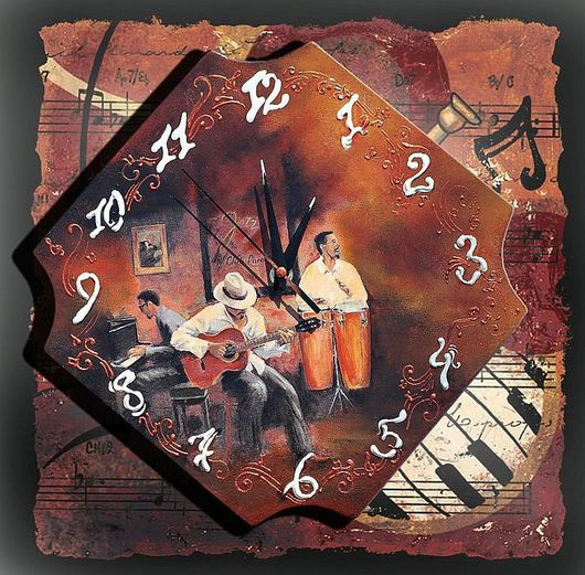 "Часы для дома ручной работы. Ярмарка Мастеров - ручная работа. Купить Настенные часы ""And All That Jazz"". Handmade."