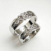 handmade. Livemaster - original item Paired wedding rings with patterns, silver (Ob26). Handmade.