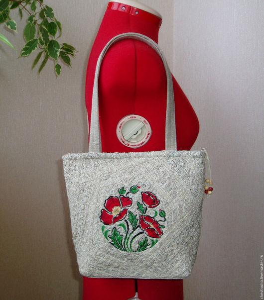 Женские сумки ручной работы. Ярмарка Мастеров - ручная работа. Купить Сумка льняная Маковая. Handmade. Серый, льняная сумка