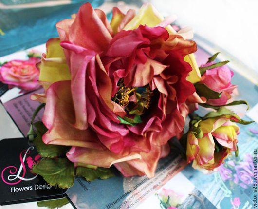 """Броши ручной работы. Ярмарка Мастеров - ручная работа. Купить цветы ручной работы брошь заколка Роза """"Цветик-Семицветик"""". Handmade."""