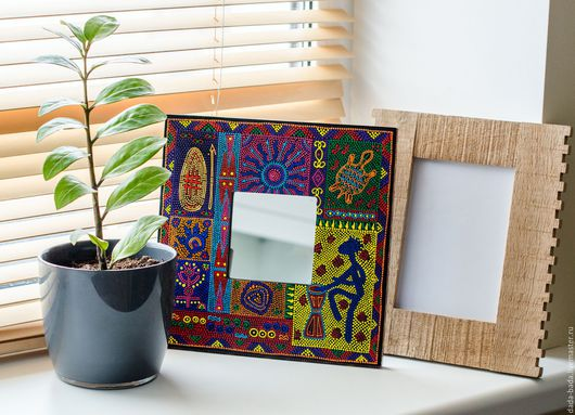 Зеркала ручной работы. Ярмарка Мастеров - ручная работа. Купить Зеркало декоративное Африканское настроение (1) ручная роспись. Handmade.