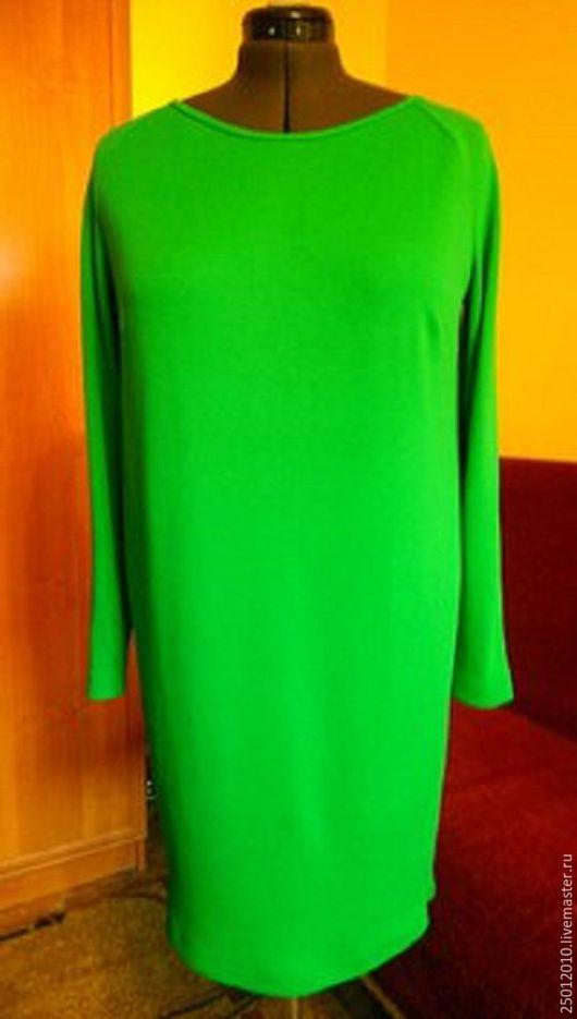 Платья ручной работы. Ярмарка Мастеров - ручная работа. Купить Платье однотоное из итальянского трикотажа трикотажа. Handmade. Тёмно-зелёный