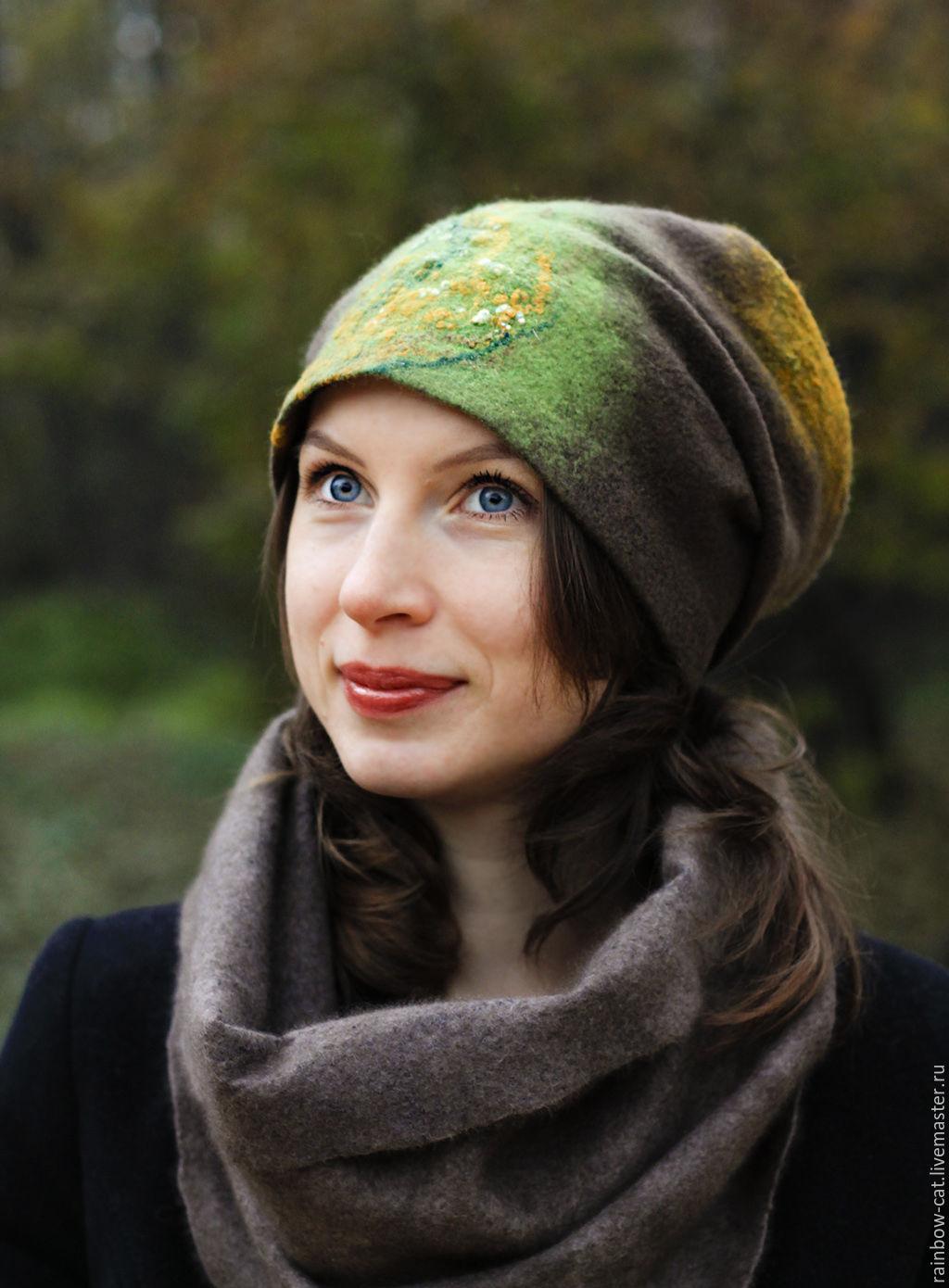Hats handmade. Livemaster - handmade. Buy Hat felt 'Bryansk forest'.Felt, saffron, grey hat, grey-yellow