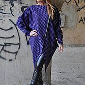 handmade. Livemaster - original item Purple tunic checkered cotton - TU0518CT. Handmade.