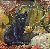 Картины и панно ручной работы. Ярмарка Мастеров - ручная работа Чёрный кот и урожай. Картина маслом. Handmade.