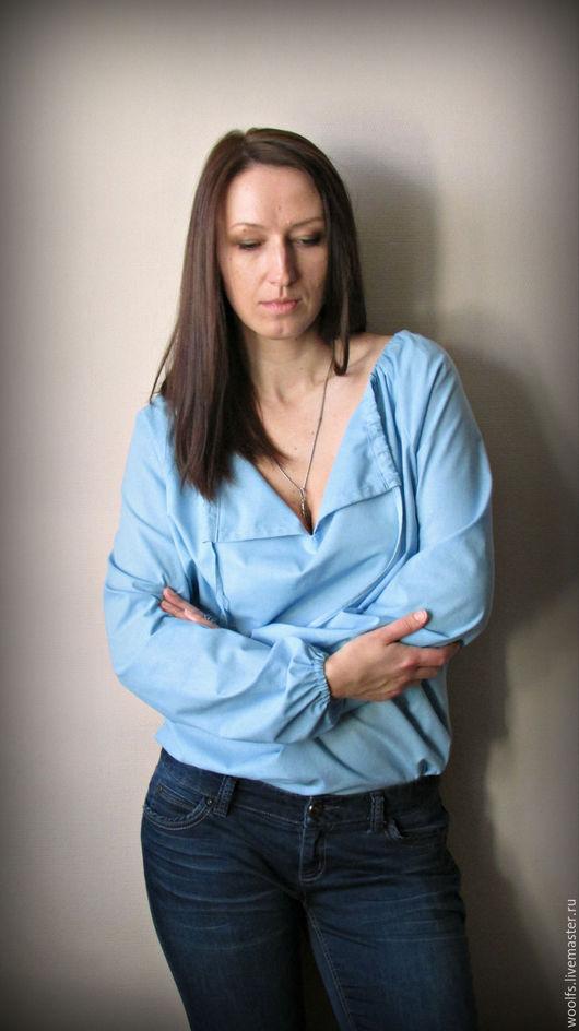 """Блузки ручной работы. Ярмарка Мастеров - ручная работа. Купить Блуза """"Moonlight """". Handmade. Голубой, блуза из хлопка, рубашка"""