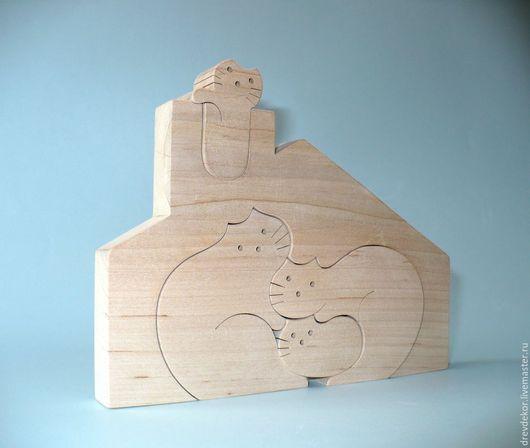 Развивающие игрушки ручной работы. Ярмарка Мастеров - ручная работа. Купить пазл кошки 6. Handmade. Комбинированный, пазлы, липа