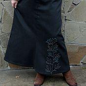 Одежда ручной работы. Ярмарка Мастеров - ручная работа Юбка джинсовая теплая с ручной вышивкой. Handmade.