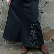 Одежда handmade. Livemaster - original item Warm denim skirt with hand embroidery. Handmade.