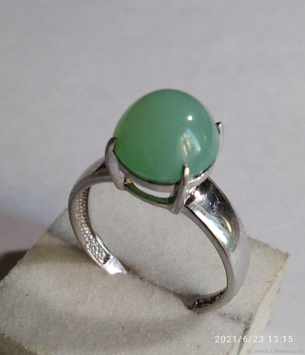 Кольцо серебряное с натуральным хризопразом, Кольца, Кострома,  Фото №1