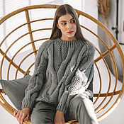 handmade. Livemaster - original item Jerseys: Women`s sweater with large braids oversize in gray. Handmade.