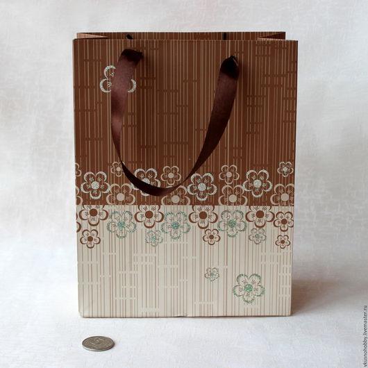 Упаковка ручной работы. Ярмарка Мастеров - ручная работа. Купить Пакет ламинированный Кофейный  9х18х23 см. Handmade. Для сувениров
