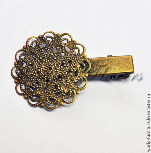 Для украшений ручной работы. Ярмарка Мастеров - ручная работа. Купить Заколка-зажим с круглой ажурной основой 30 мм, античная бронза. Handmade.