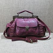 Сумки и аксессуары handmade. Livemaster - original item Women`s leather bag ELIZABETH mini plum color. Handmade.