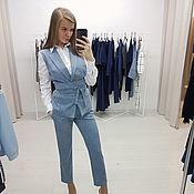 Одежда ручной работы. Ярмарка Мастеров - ручная работа Стильный брючный костюм голубого цвета. Handmade.