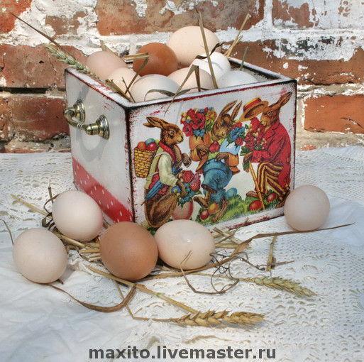 Подарки на Пасху ручной работы. Ярмарка Мастеров - ручная работа. Купить пасхальный короб. Handmade. Короб для хранения, дерево