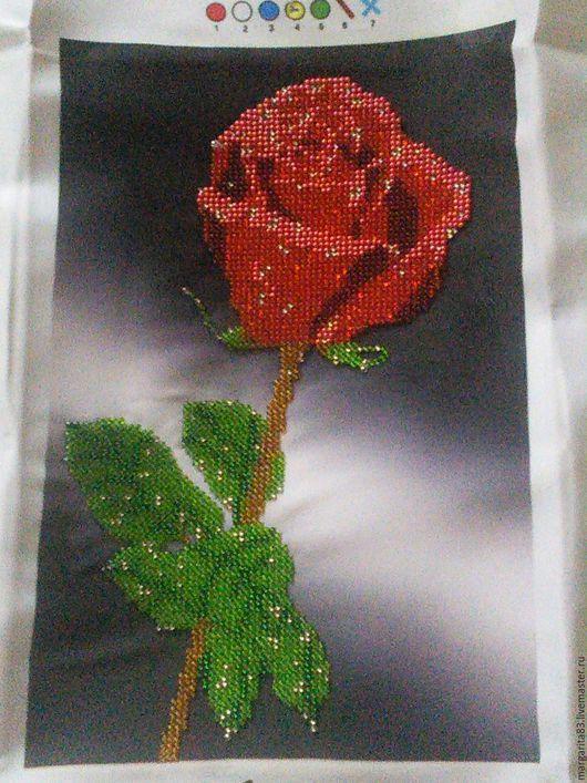 Картины цветов ручной работы. Ярмарка Мастеров - ручная работа. Купить Роза. Handmade. Вышивка, Вышивка бисером, подарок