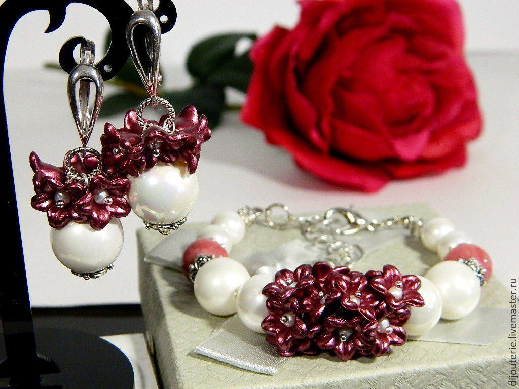 Earrings Bracelet 'rose Tea', Majorca pearls, agate, Jewelry Sets, Saratov,  Фото №1