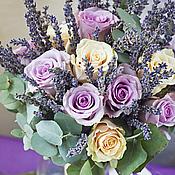 """Цветы и флористика ручной работы. Ярмарка Мастеров - ручная работа Букет """"Лаванда и розы двух цветов"""". Handmade."""