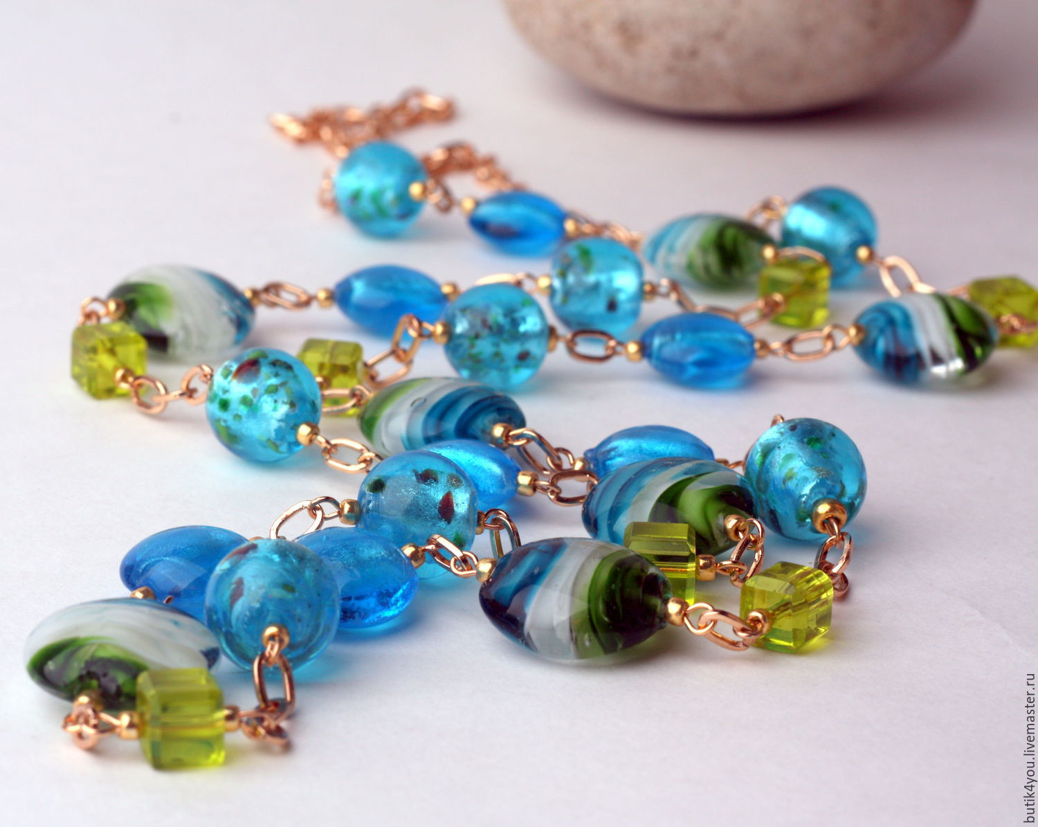 With pendant 'Blue sea' of lampwork and gold plated fittings, Necklace, Moscow,  Фото №1