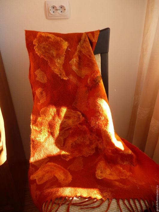 Шарфы и шарфики ручной работы. Ярмарка Мастеров - ручная работа. Купить шарф Рыжий 2. Handmade. Оранжевый, валяный палантин