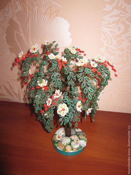 Деревья ручной работы. Ярмарка Мастеров - ручная работа. Купить Дерево из бисера. Handmade. Зеленый, белый