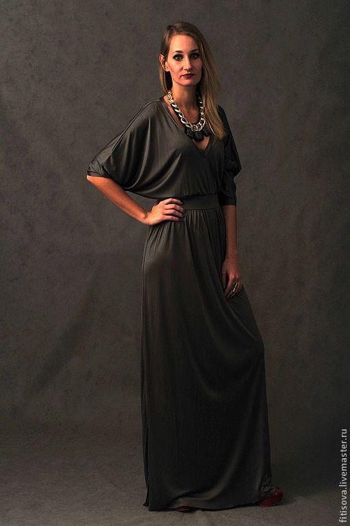 Платья ручной работы. Ярмарка Мастеров - ручная работа. Купить Платье Сара. Handmade. Хаки, шёлковый трикотаж