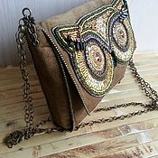 """сумочка из натуральной кожи с вышивкой бисером """"Живой мир"""""""