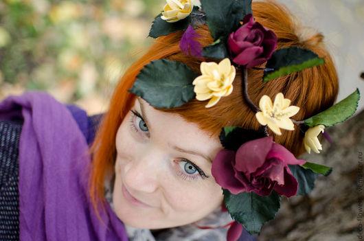 """Цветы ручной работы. Ярмарка Мастеров - ручная работа. Купить Венок """"Багряные розы"""". Handmade. Бордовый, венок для фотосессий"""