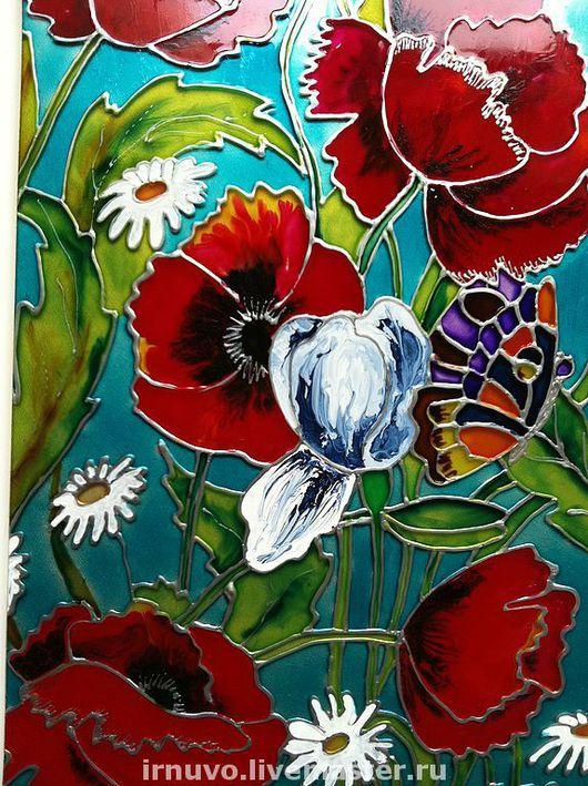 Картины цветов ручной работы. Ярмарка Мастеров - ручная работа. Купить Витраж Маки. Handmade. Комбинированный, эксклюзивный подарок