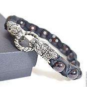 Украшения handmade. Livemaster - original item Leather Shamballa bracelet with garnet Panther. Handmade.