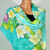 Аксессуары handmade. Livemaster - original item silk scarf batik Spring flowers. Handmade.