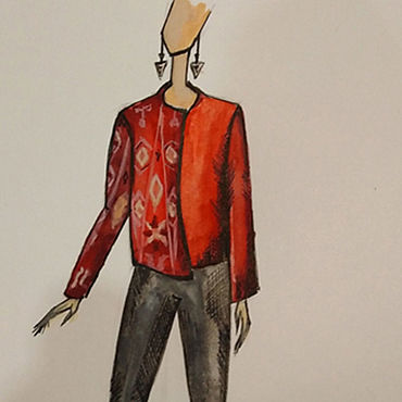 """Одежда ручной работы. Ярмарка Мастеров - ручная работа Стеганая куртка из хлопокового иката """"Огонь"""". Handmade."""
