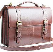 Сумки и аксессуары handmade. Livemaster - original item Business leather briefcase Overture brown. Handmade.