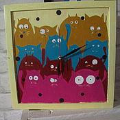 """Для дома и интерьера ручной работы. Ярмарка Мастеров - ручная работа Часы деревянные """"КОШКИ"""". Handmade."""