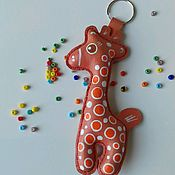 Аксессуары handmade. Livemaster - original item Giraffe keychain genuine leather. Handmade.