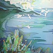 Картины и панно ручной работы. Ярмарка Мастеров - ручная работа Батик-картина. Море, море..... Handmade.