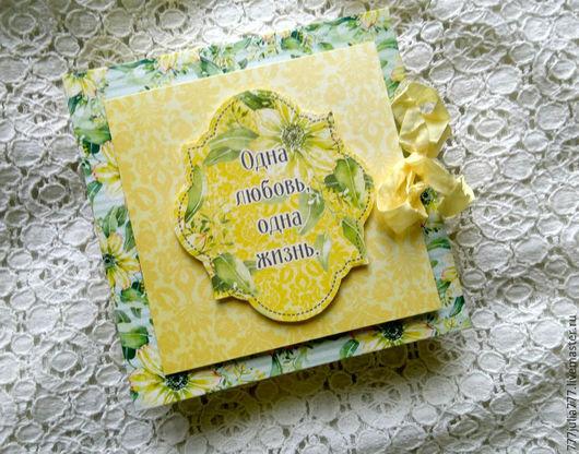 """Конверты для денег ручной работы. Ярмарка Мастеров - ручная работа. Купить Коробочка """"Одна любовь"""". Handmade. Лимонный, подарок на свадьбу"""