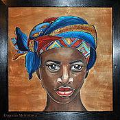 """Картины и панно ручной работы. Ярмарка Мастеров - ручная работа Панно на шелке """"Африка"""". Handmade."""