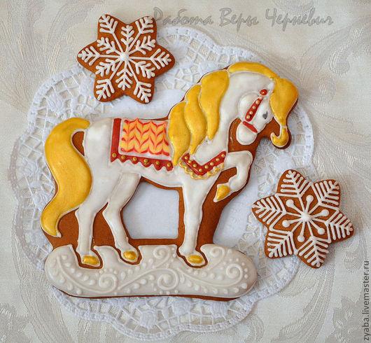 Кулинарные сувениры ручной работы. Ярмарка Мастеров - ручная работа. Купить Пряник лошадка - златогривка - символ года 2014. Handmade.