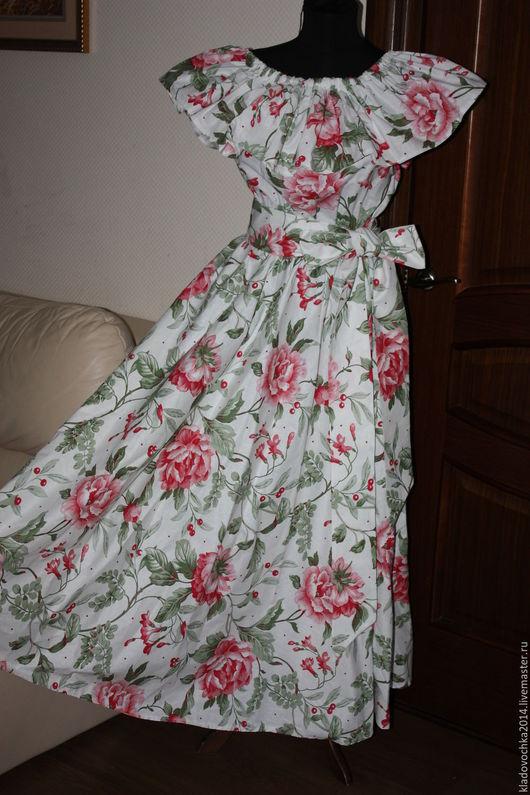 """Платья ручной работы. Ярмарка Мастеров - ручная работа. Купить Платье с воланом """"Розовый пион"""". Handmade. Белый, платье с воланом"""