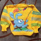 """Работы для детей, ручной работы. Ярмарка Мастеров - ручная работа Джемпер на ребенка""""Крош на рыбалке"""". Handmade."""