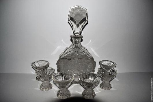 Винтажные предметы интерьера. Ярмарка Мастеров - ручная работа. Купить Графин + 6 рюмок рельефное стекло 1930 гг. SCHLEVOGT & HOFFMANN. Handmade.
