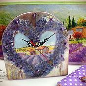 """Для дома и интерьера ручной работы. Ярмарка Мастеров - ручная работа Часы """"Лаванда в сердце"""". Handmade."""