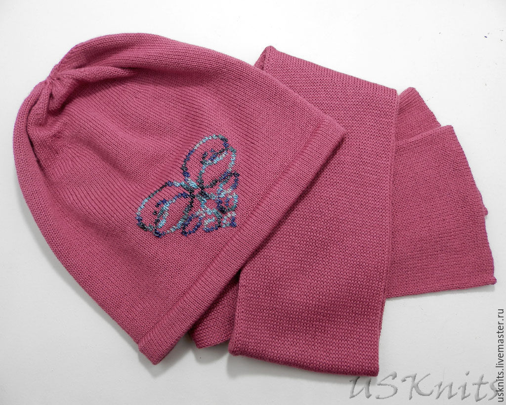 Knitted hat set (hat) with embroidery and scarf, Caps, Korolev,  Фото №1